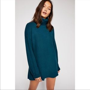 Free People Softly Structured Knit Tunic Deep Jade